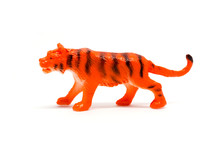 Tiger Model Isolated On White Background, Animal Toys Plastic