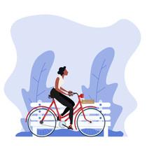 Vintage Style Woman Riding A B...