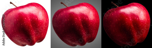 Stickers pour porte Pierre, Sable Group of delicious red apples isolated on different background with shiny reflections