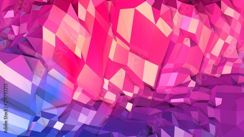 Fotografia, Obraz  3d rendering abstract geometric background with modern gradient colors in low poly style
