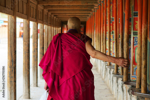 Fotografia pilgrim at labrang monastery ,Xiahe,china