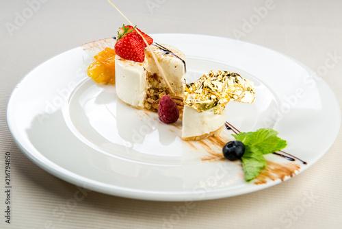 Fotobehang Dessert Dessert with fresh berries on a plate