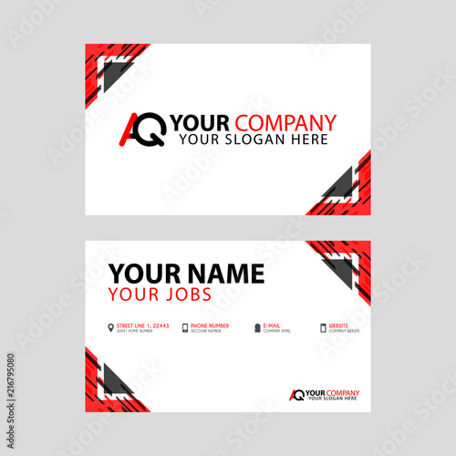 The new simple business card is red black with the AQ logo Letter bonus and horizontal modern clean template vector design.