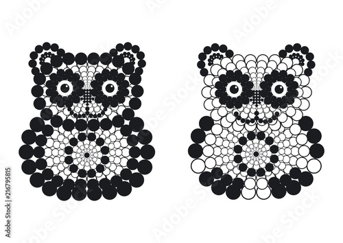 Photo  Vector decorative bear and panda