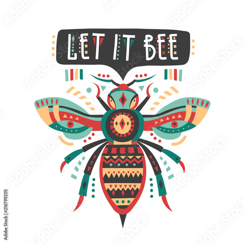 "Photo  Vector illustration with patterned bee and lettering ""Let it bee"""