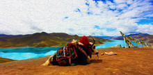 Digital Oil Paint View Of Yak And Yamdrok Lake, Is One Of Three Largest Sacred Lakes In Tibet, A Freshwater Lake Surrounded By Many Snowcapped Mountains And Fed By Numerous Small Streams.