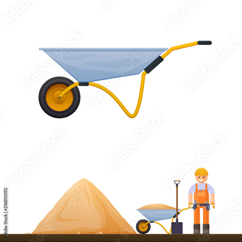 Fotografering Vector wheelbarrow icon, illustration of a worker with sand shovel and building