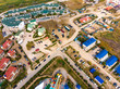 Aerial view of a resort town on the seashore.