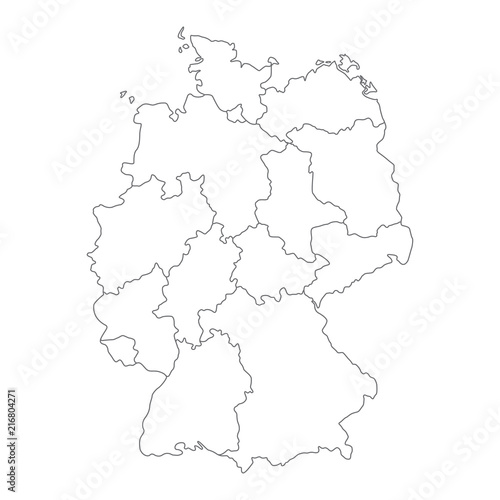 Simple Map Of Germany.Map Of Germany Divided To Federal States And City States Simple