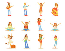 Hippie Girls Set, Young Beautiful Women With Long Hair Dressed In Hippy Subculture Clothes Vector Illustrations Isolated On A White Background