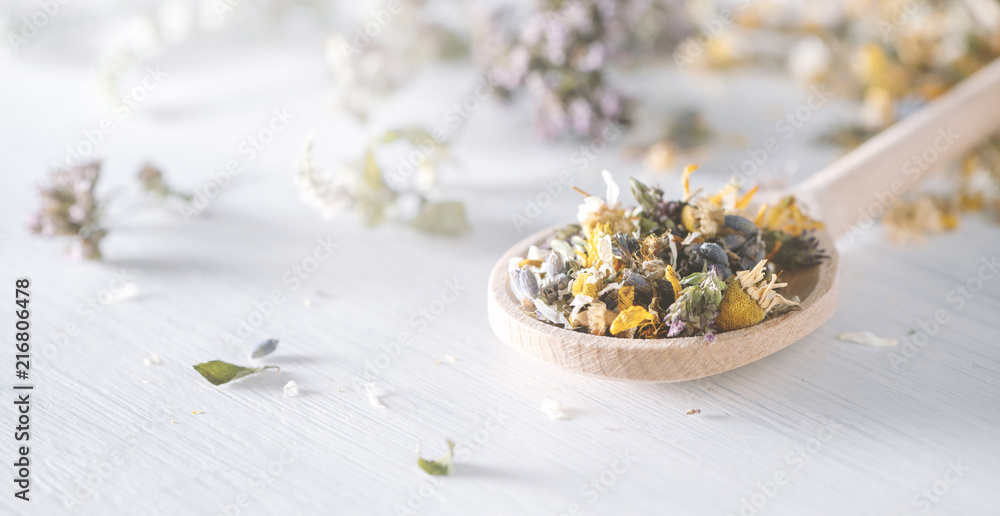 Fototapety, obrazy: Mix of dried medical herbs and blooms on a wooden spoon. Homeopathy concept