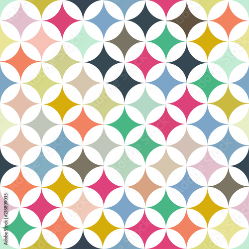 Poster Vogels, bijen Abstract vector seamless retro tile pattern with geometric rouns colourful texture for wrapping, craft, textile