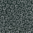 Black Board. Hazelnut Seamless Endless Pattern. Whole and Peeled Hazelnut. Autumn or Fall Harvest Collection. Realistic Hand Drawn High Quality Vector Illustration. Doodle Style.