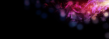 Dark Abstract Bokeh Background, Magic Smoke And Sparks, Neon