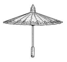 Oriental Umbrella Illustration, Drawing, Engraving, Ink, Line Art, Vector