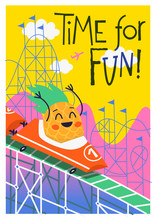Summer Fun Poster With Pineapple Character Riding In Roller Coaster