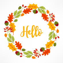Autumn Wreath With Oak Leaves, Berries, Hazelnuts On White Background