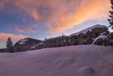 The Military Fort Verle At Sunrise During Winter. Vezzena Pass, Lavarone, Trentino, Italy.
