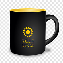 Realistic Black Cup Isolated On Transparent Background. Template For Mock Up. Vector Illustration