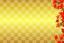 和柄 もみじ 金の市松模様 背景素材 01