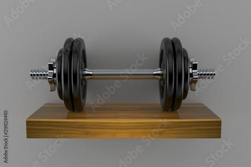 Fotografia  Dumbbell on wooden shelf