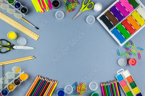 Photo sur Toile Pays d Asie School supplies on a grey background