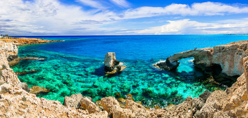 Beautiful nature and  cystal clear waters of Cyprus. arch bridge near Agia Napa