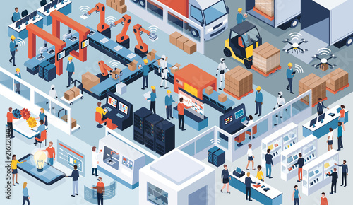 Industry 4.0, automation and innovation Wallpaper Mural