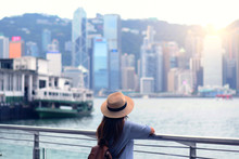 Tourist Is Watching Beautiful View Of Skyscraper Cityscape Of Hong Kong.