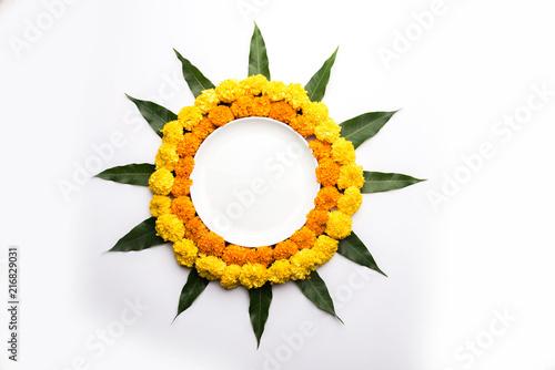 Marigold Flower rangoli for Diwali or Pongal festival