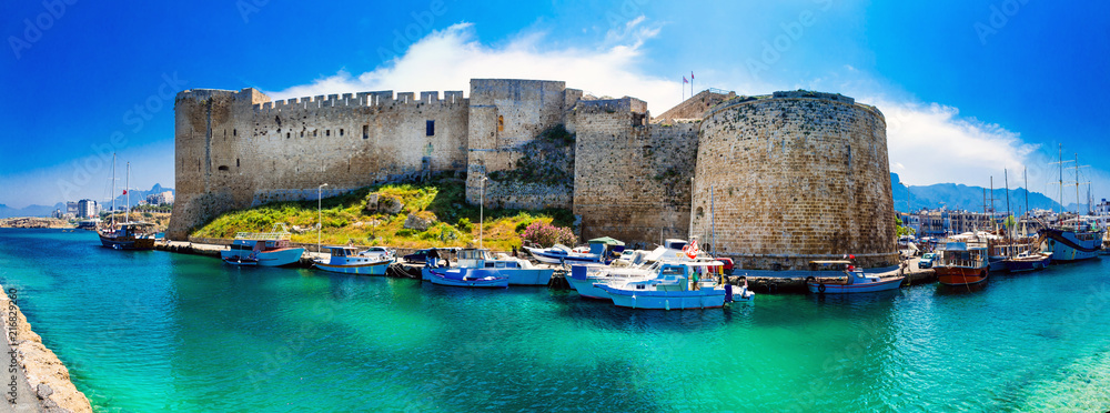 Fototapeta Landmarks of Cyprus - medieval fortress in Kyrenia, turkish part of northen Cyprus
