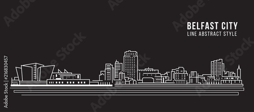 Fotografija Cityscape Building Line art Vector Illustration design - Belfast city