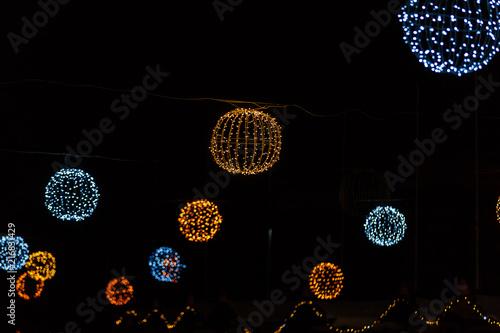 Slika na platnu Festive illumination on the boulevard at night