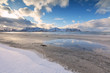 Snow on sandy beach, Ramberg, Flakstad municipality, Lofoten Islands, Norway