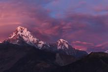Scenic View Of Annapurna Massif During Sunset