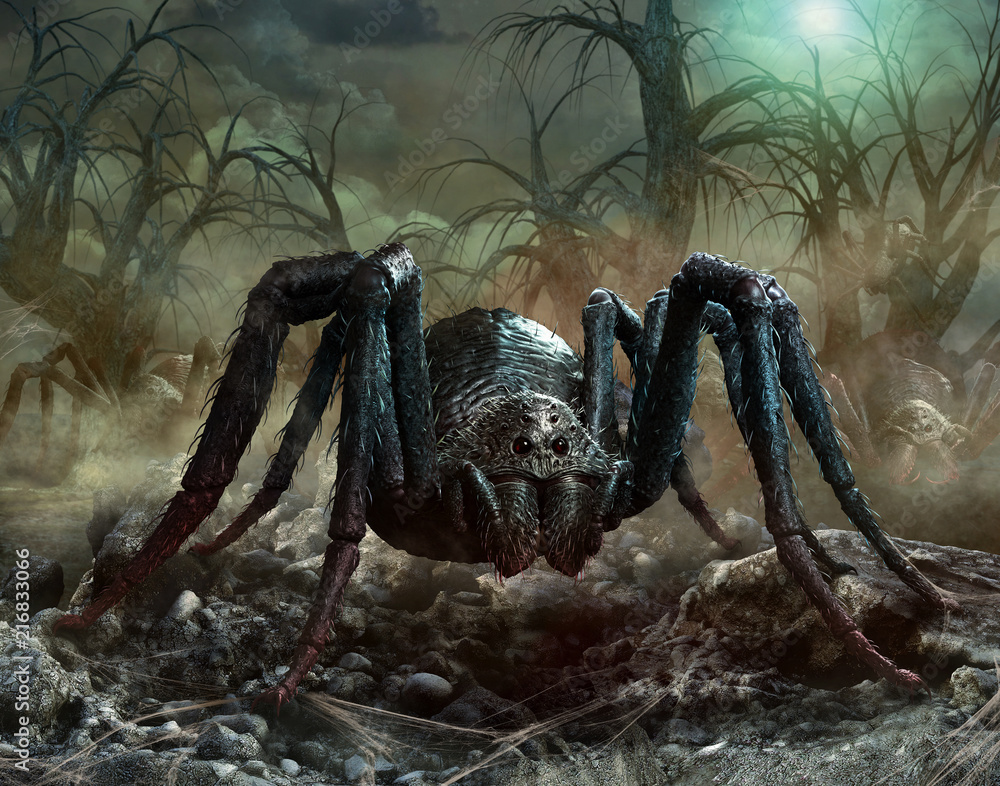 Giant spider scene 3D illustration