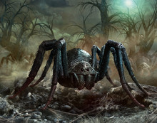 Giant Spider Scene 3D Illustra...