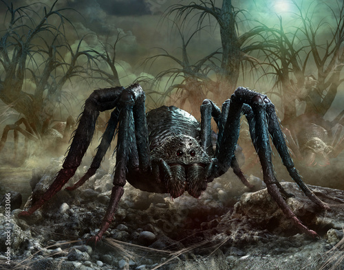 Giant spider scene 3D illustration Canvas Print