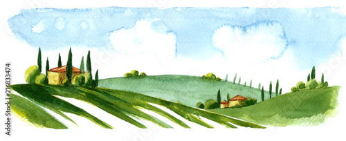Fotobehang Wit Watercolor illustration of small village in Europe. Alpine landscape