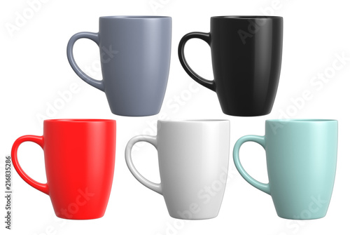 Ceramic mug on white background, 3D Rendering