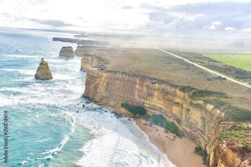 Foto op Aluminium Oceanië Aerial View of the Great Ocean Road in Victoria, Australia