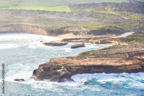 Poster Oceanië Aerial View of Coastal Landscapes Along the Great Ocean Road
