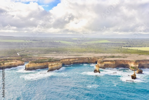 Foto op Aluminium Oceanië Aerial View of the Twelve Apostles Along the Great Ocean Road