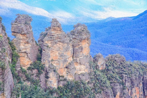 Poster Oceanië The Three Sisters Rock Formation in the Blue Mountains