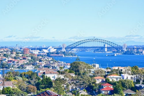 View of Sydney City with Sydney Opera House and Harbour Bridge Poster