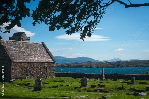 Valokuvatapetti St Oran's Chapel and Gaveyard at Iona Abbey, Isle of Iona, Scotland, UK