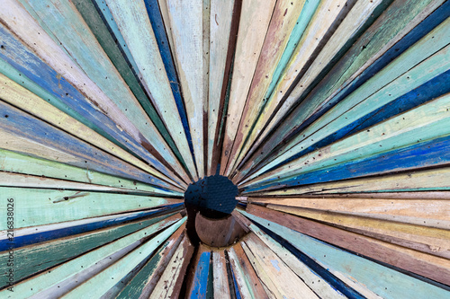 Multi color of old grunge wood panel as radial shape background Wallpaper Mural