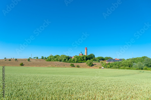 Foto op Aluminium Blauw Landscape with Schinkelturm tower and the new lighthouse at Cape Arkona