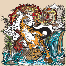 Chinese Dragon Versus Tiger In...