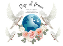 Peace Day ,Pigeon With World W...